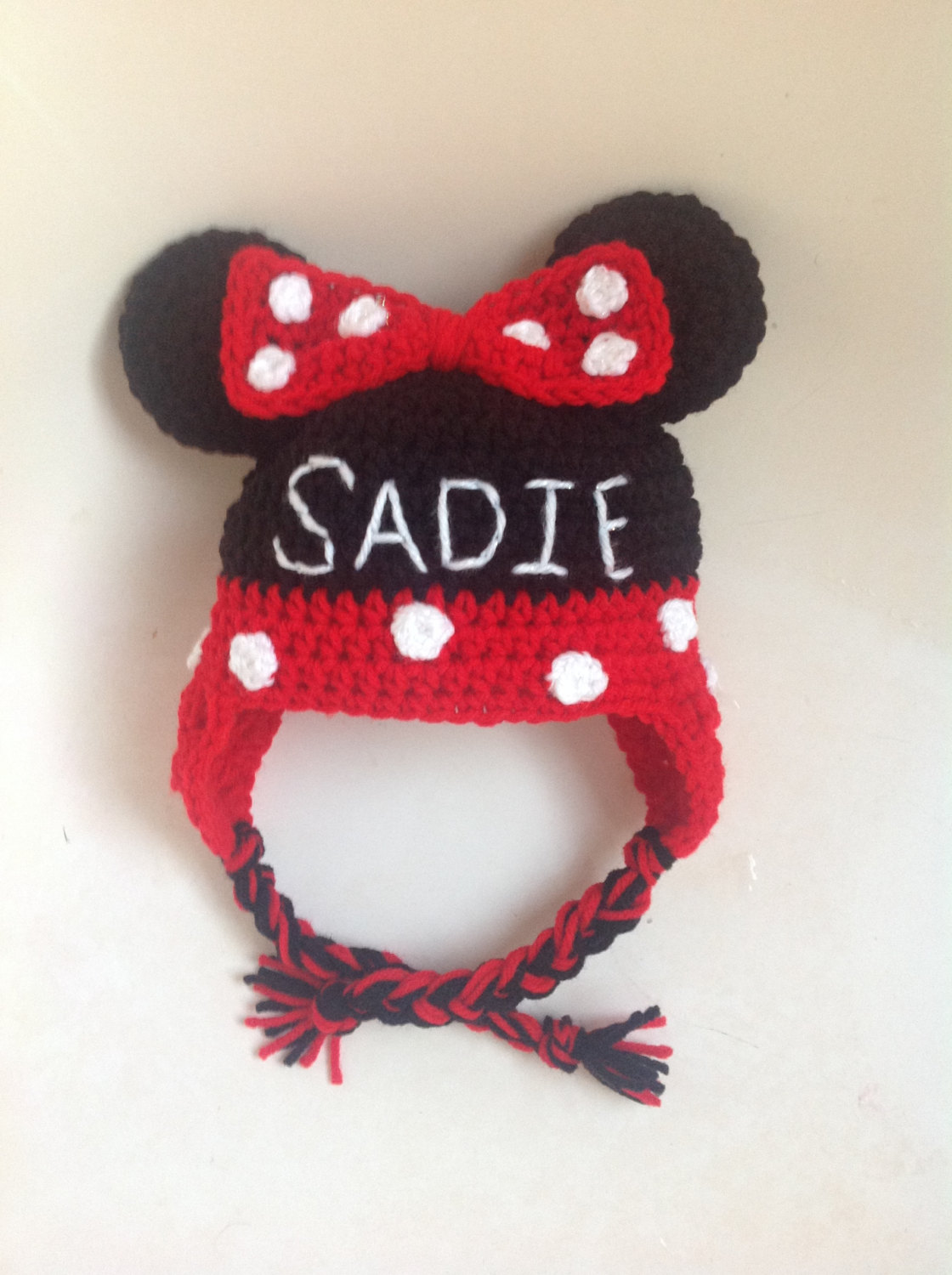 Personalized Mister & Miss Mouse hat with earflaps and braids, Newborn to Adult