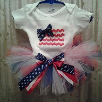 Sale! Fourth of July tutu outfit set with applique american flag onesie, Independence day, 4th of July, pride, stars and stripes