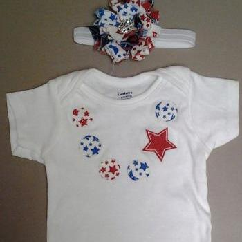 Fourth of July applique necklace onesie with matching shabby flower headband, Independence day, 4th of July set