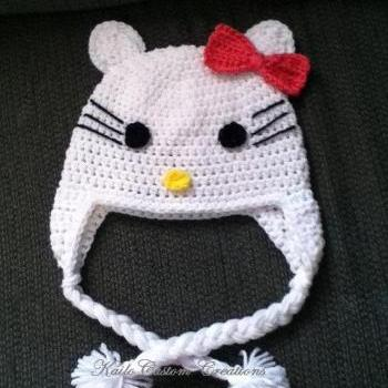 Pretty Kitty hat with earflaps and Pom poms, newborn to adult sizes