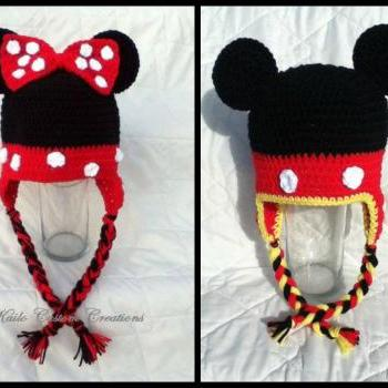 Mister & Miss Mouse hat with earflaps and braids, Newborn to Adult