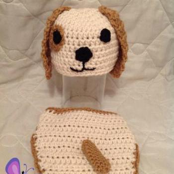 Newborn BOY or GIRL puppy dog hat and diaper cover photo prop