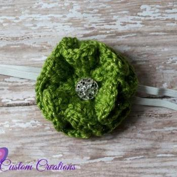 Beautiful Crochet Flower headband with sparkling jewel center, Newborn baby child toddler adult headband